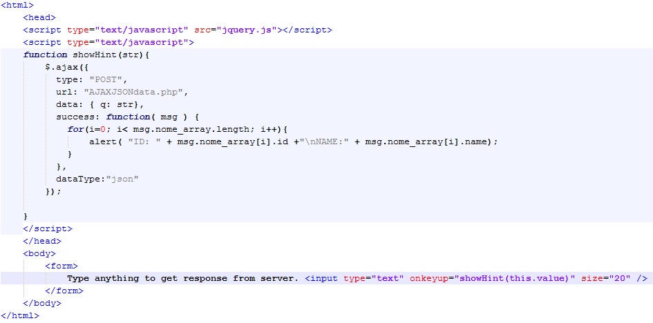 Get JSON data using jQuery AJAX from a PHP page | Farsim