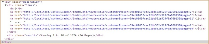 open cart  pagination class generated code